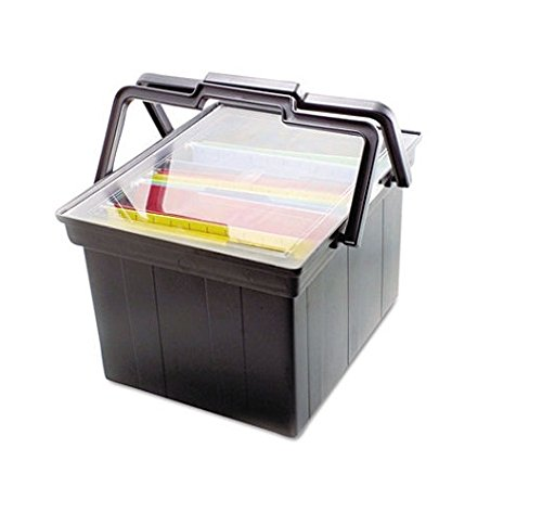 ADVANTUS Companion Letter/Legal Portable Plastic File Box, Includes Lid and Handles, 17 x 14 x 11 Inches, Black (TLF-2B) - Pack of 3