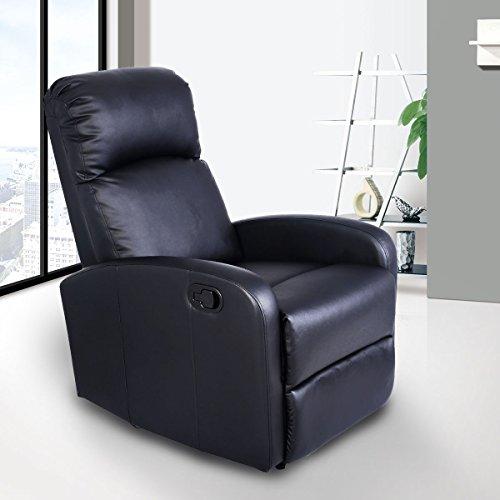 Giantex Manual Recliner Chair Black Lounger Leather Sofa