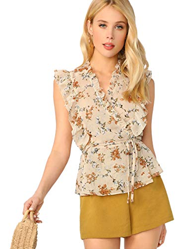 Romwe Women's Frill Trim Floral Priint Self-tie Wrap Top Blouse Apricot ()