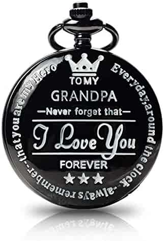 to My Grandpa Pocket Watch Gift,Engraved Pocket Watch for Grandpa Father's Day Christmas, Valentines Day, Birthday
