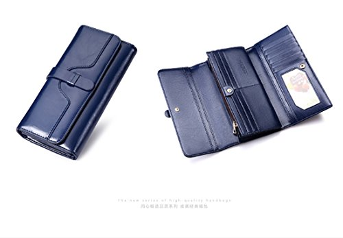 Damen Geldbörse aus echtem Leder Rindsleder braun roten Gürtel einfarbig Blue