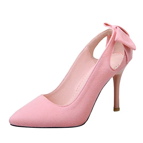 Mee Shoes Womens Sexy Stiletto Bows Back Court Shoes Pink gQrPVWu