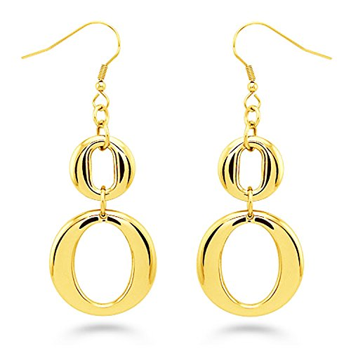 Gold Plated Stainless Steel Double Loop Figure 8 Dangle - Dollar 5 Fashion