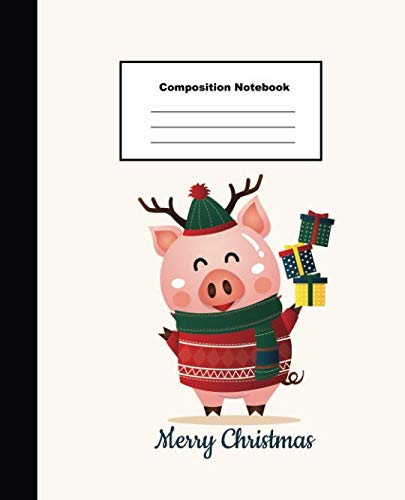 Composition Notebook Merry Christmas: 2019 Chinese New Year of The Pig Christmas Greeting Wide Lined Note