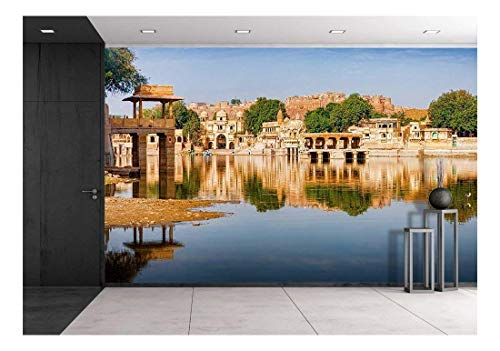 wall26 - Gadi Sagar (Gadisar) Lake is One of The Most Important Tourist Attractions in Jaisalmer, Rajasthan, North India - Removable Wall Mural | Self-Adhesive Large Wallpaper - 66x96 inches