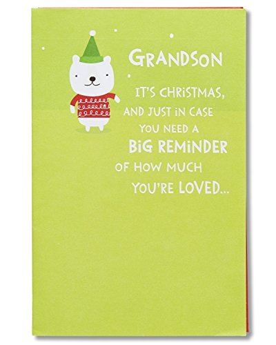 American Greetings Funny Lots of Love Christmas Card for Grandson with Foil