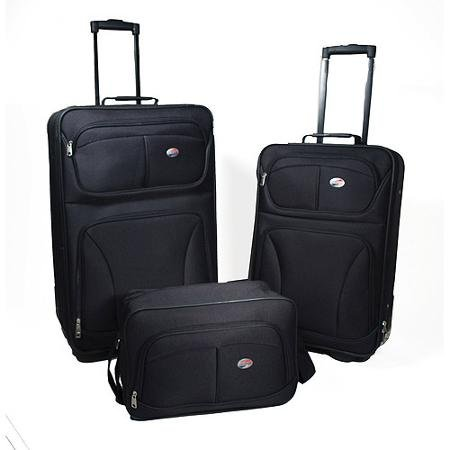 American Tourister Brewster 3-Piece Luggage Set, Black (3 Tourister American Piece)