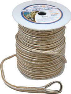 Sea Dog 302110200G/W-1 Double Braided Nylon Anchor Line with Thimble, 3/8