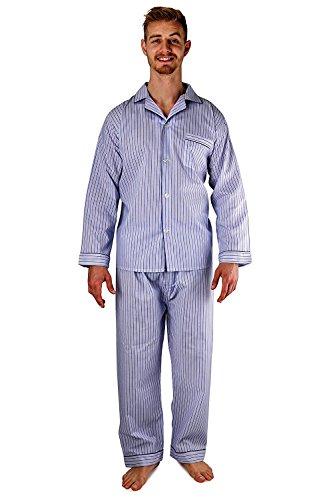 Men's Woven Sleepwear Long Sleeve Pajama Set Cotton Blend - Blue & Navy Striped - Pajamas Blue Striped