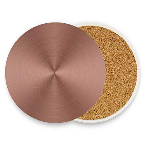 Jidmerrnm Circle Copper Steel Texture Inspired Radial and Round Plaque with Shades Image Print Colorful Ceramic Coaster 1 Piece for Mugs and Cups