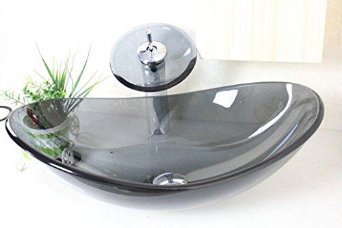 Gehärtetes Glas Badewanne, Waschbecken und Wasserhahn Behälter Mixer Tippen,8.18 Die ovalen Waschbecken aus Glas blau Glas Waschbecken Waschbecken 540*360*12,C