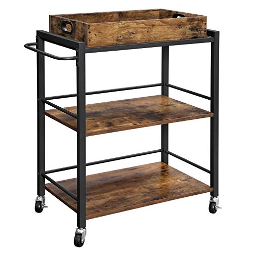 VASAGLE ALINRU Kitchen Serving Cart with Removable Tray, 3-Tier Kitchen Utility Cart on Wheels with Storage, Universal Casters with Brakes, Leveling Feet, Rustic Brown ULRC72X