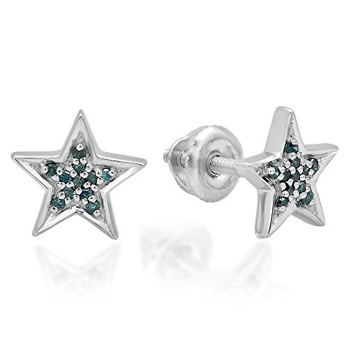 0.10 Carat (ctw) Sterling Silver Round Cut Blue Diamond Ladies Star Shape Stud Earrings 1/10 CT