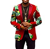 Abetteric Men Africa Dashiki Batik Floral Printed Outwear 1 Button Suit 5 L