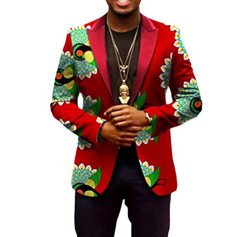 Abetteric Men Africa Dashiki Batik Floral Printed Outwear 1 Button Suit 5 L by Abetteric