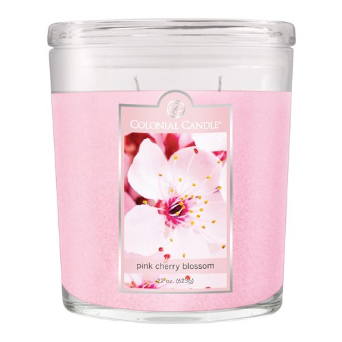 Colonial Candle 22-Ounce Scented Oval Jar Candle, Pink Cherry (Oval Blossom)
