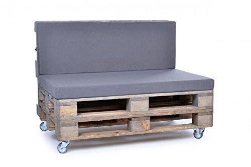 Palettenkissen, Gartenmöbel Auflagen, Sitzbankauflage, Matratzenauflagen auch m. Rückenlehne bzw. Dekokissen, wie Baumwolle, grau, scheuer- und abriebfest, für Loft oder Lounge