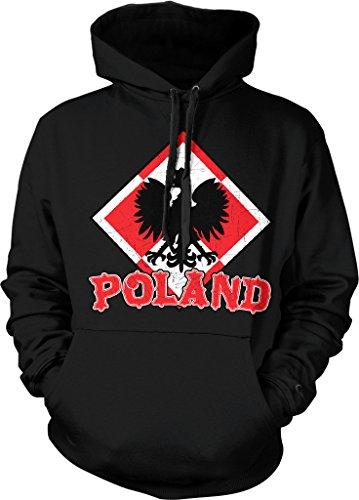 Poland Coat of Arms, Republic of Poland, White Eagle, Crown Hooded Sweatshirt, NOFO Clothing Co. XXL Black (Poland Arms)