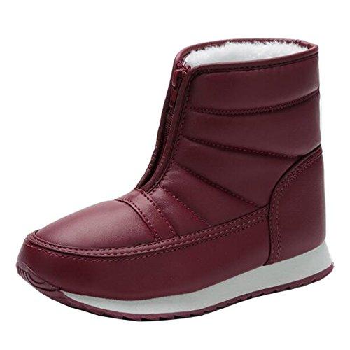 Mashiaoyi Women's Round-Toe Flat Zip Fur Snow Boots Burgundy wyYagp3