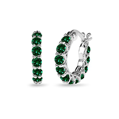 Sterling Silver Simulated Emerald Small Round Huggie 18mm Hoop Earrings