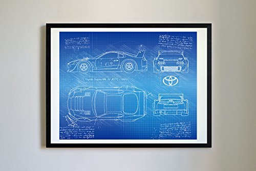 Toyota Car Photo - DolanPaperCo #182 Toyota Supra Mk IV 1995 Art Print, da Vinci Sketch – Unframed – Multiple Size/Color Options (11x14, Blueprint)