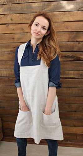 Linen No-Tie Cross Back Japanese Style Pinafore Apron with Two Pockets - XS-XXL Sizes - Multiple Colors - Mother's Day Gift Card