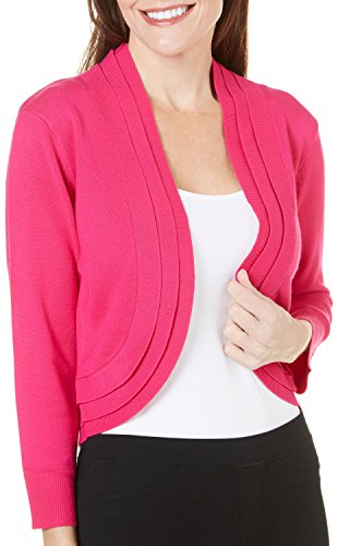 Ronni Nicole Women's 3/4 Sleeve Triple Pleat Bolero Shrug, Rose, M