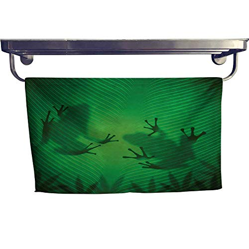 Banana Fish Jungle Gym - sunsunshine Animal Large Hand Towels Set Frog Shadow Silhouette on The Banana Tree Leaf in Tropical Lands Jungle Games Graphic Gym Hand Towels Set W 12