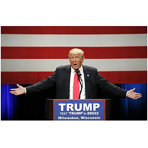Donald Trump 8 Inch x10 Inch Photo The Apprentice Two Weeks Notice Fox and Friends at Podium Arms Extended Palms Up Red Tie kn