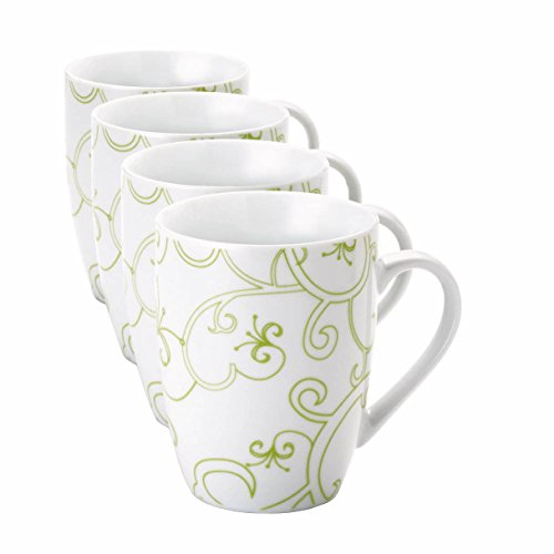 Rachael Ray 4pc 11-oz Mugs, Curly Q, Green