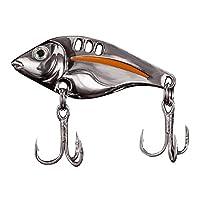 hAohAnwuyg Bass Fishing Lure,3 Holes Metal 3D Lifelike Eyes Simulation Fish Bait Hard Lure with Hooks Grey