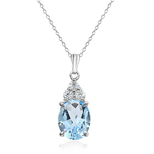 Sterling Silver Blue and White Topaz Oval Pendant - Bracelet Blue Pendant Topaz