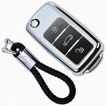 kaser Funda de Silicona para Llave VW Volkswagen – Cover Carcasa de TPU Cromo Suave para VW Golf Tiguan Passat Seat Ibiza Leon Skoda Octavia ...