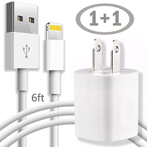 Long iPhone Charger - 6FT Lightning Cable Charging / Data Sync Cord with Wall AC USB Brick Travel Power Adapter Outlet Plug - White for iPhone X 8 8Plus 7 6 6S 5 SE Plus Models and More (Ac Power Plug Travel)