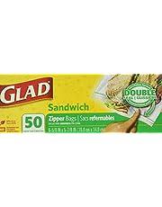 Glad Zipper sandwich bags food storage, 50 count