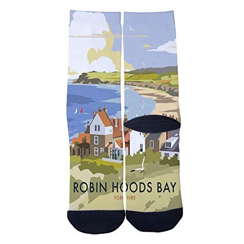 (Robin Hoods Bay Vintage Travel poster Socks Men's Women's Casual Socks Custom Creative Crew Socks Black)
