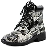 Emilio Womens Low Ankle Stacked Low Heels Print Lace Up Combat Military Boots Booties