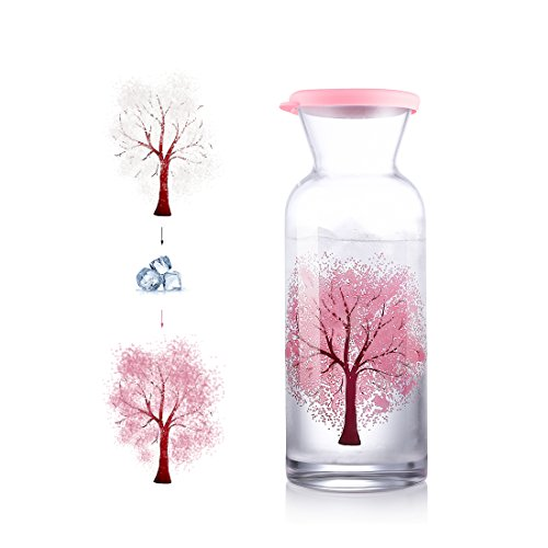 RED MAISON Exquisite Sakura Tree Hot/Cold Sensitive Color Changing Glass Pitcher Wedding Gift Liquor Decanter 42 Ounces Glass Carafe with Lid - Heat Resistance Pitcher for Hot/Cold Water & Iced Tea