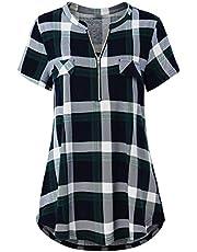 Oyamiki Womens Loose Zip Up Deep V Neck Short Sleeve Tops Tunic Casual Shirts Blouse