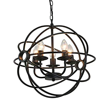 NIUYAO Industrial Vintage Globe Wrought Iron 15.75'' Pendant Chandelier Lighting Antique Rustic Lighting Hanging Light Fixture with 5 Lights