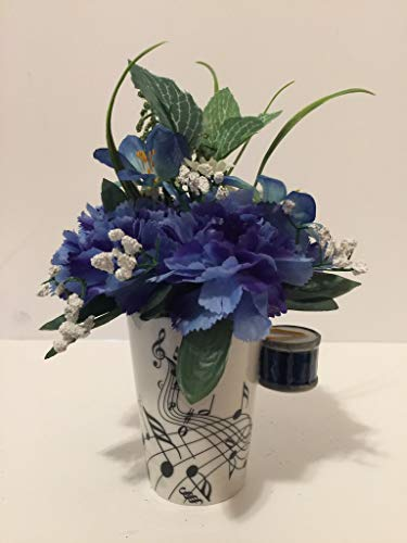MUSIC FUN - BLUE DRUM VASE - BLUE CARNATIONS, BLUE LILLIES, AND YELLOW & WHITE DAISIES - MUSICAL INSTRUMENT - MUSICIAN - BAND CLASS - SCHOOL BAND - MUSIC CLASS -