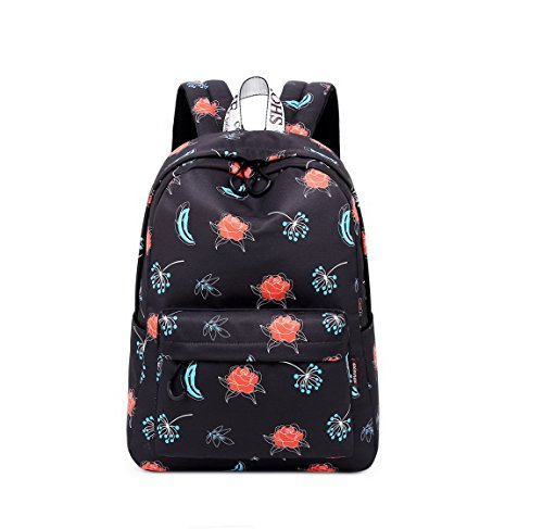 Joymoze Waterproof Cute School Backpack for Boys and Girls Lightweight Chic Prints Bookbag (Flower)