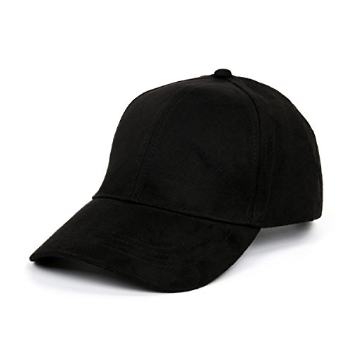 CUSFULL Soft Faux Suede Leather Baseball Cap Adjustable Classic Sports Hat-Black