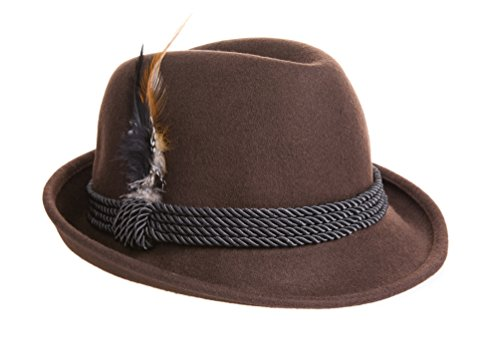 Alpine Holiday Oktoberfest Wool Bavarian Fedora Hat - Brown Color - Size Large (L)