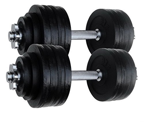 dumbbells 2 X 52.5 LBS Adjustable Cast Iron Set. Total 105 Lbs