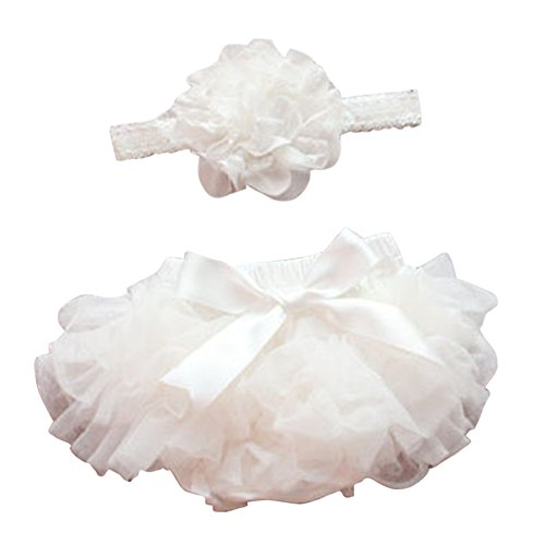 Luckyauction Baby Infant Girls Ruffle Skirts Panties Briefs Bloomer Diaper Cover With Flower (Lace Ruffled Bloomers)