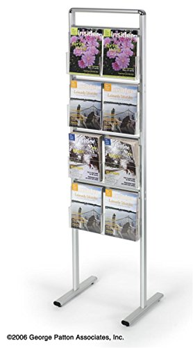 Aluminum Literature Stand with 4 Adjustable Clear Acrylic Pockets for Magazines and Brochures, 69 inches Tall - Silver by Displays2go