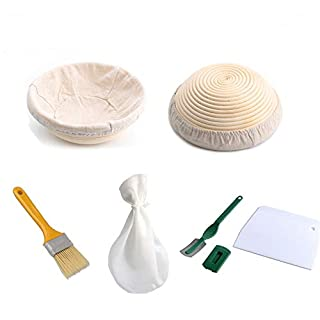 "9"" Round Bread Banneton Proofing Basket for Sourdough, Rising Dough Baking Bowl Kit, Gifts for Artisan Bread Making Starter, Includes Linen Liner, Dough Scraper,Bread Bag,sourdough kit"