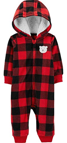 (Carter's Baby Boys' One Piece Checker Print Fleece Jumpsuit 9 Months,9 Months,Red/Black )