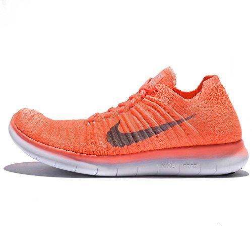 Nike Womens Free Running Motion Flyknit Shoes  Brt Mng Wlf Grey Pch Crm Plst P   8 B M  Us